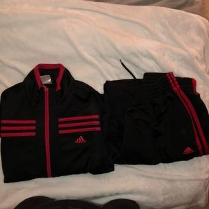 Adidas track suit red and black